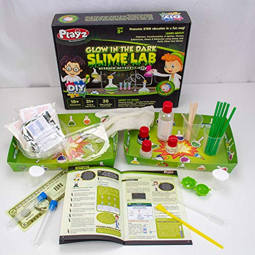 Playz Glow in The Dark Slime Lab Science Kit w/ 19+ Experiments to Make Glowing Dough, Scented Fluffy Slime, Luminescent Blood, Shampoo Slime, & Sticky Fish Through Gooey Science Activities by Playz (Image #3)