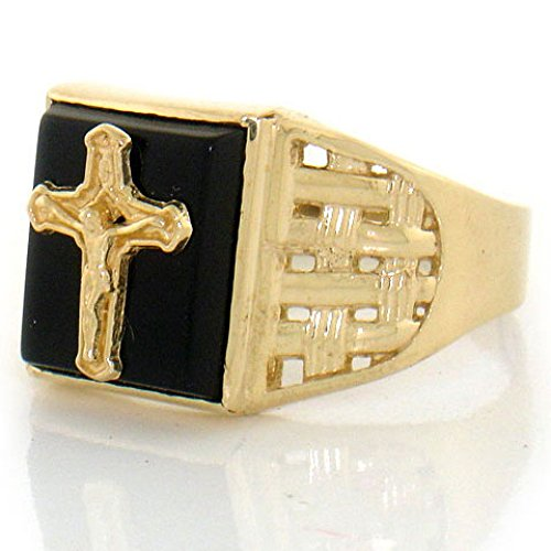 Gold Mens Onyx Cross Ring - 2