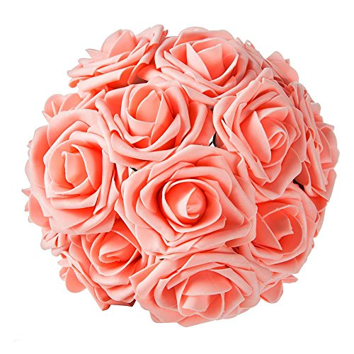 ZOOYOO Artificial Flowers Pink Roses 50pcs,Wedding Bridesmaid Bridal Bouquets Centerpieces,Wedding Decorations,Real Looking Fake Roses Stem For Party Decoration,Baby Shower Home Decorations. -