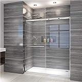 """ELEGANT SHOWERS 58.5-60"""" W x 72"""" H, Semi-frameless Bypass Sliding Shower Doors, 1/4"""" Clear Glass, Chrome Finish"""