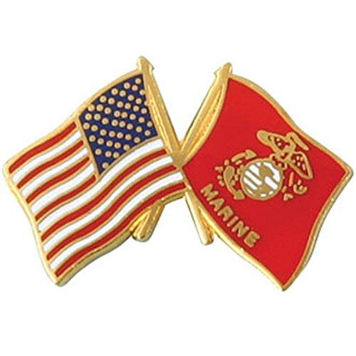 American and U.S. Marine Corps Crossed Flags 1
