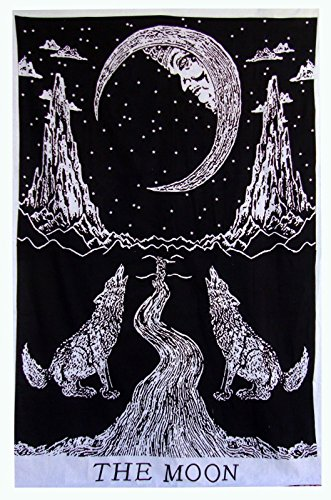 Exclusive Multi Tie Dye Crying Wolf of The Moon Tarot Tapestry wall hanging by