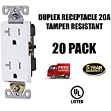 20A, Tamper Resistant, 120 Volt, Child-Proof Outlets, Decorator Duplex Receptacle, Commercial Grade, Grounding, UL Listed, 20-PACK, White