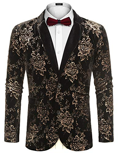COOFANDY Men's Luxury Casual Blazer Jacket Notched Lapel Velvet Coat Party Stylish Blazer