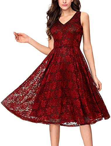 Noctflos Lace V Neck Fit & Flare Midi Cocktail Dress for Women Party Wedding Burgundy