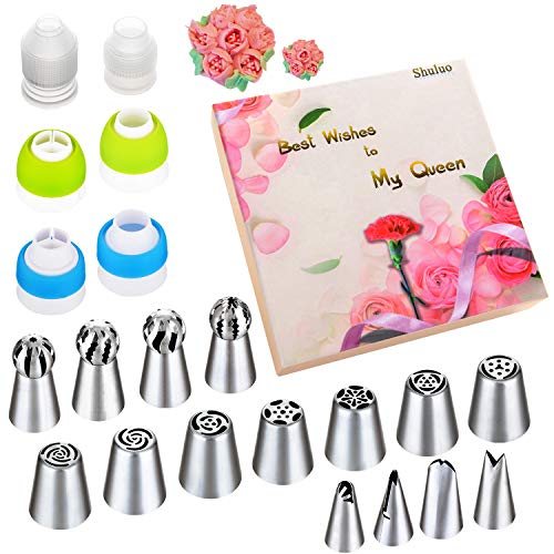 Icing Ice Cream Cake - Russian Piping Tips Set - 53 pcs Cake Decorating Tips For cake, Muffins and Ice Cream Decoration Including 15 Unique Design Icing Piping Tips, 4 Couplers, 32 Bags with Gift Box for Mother's Day