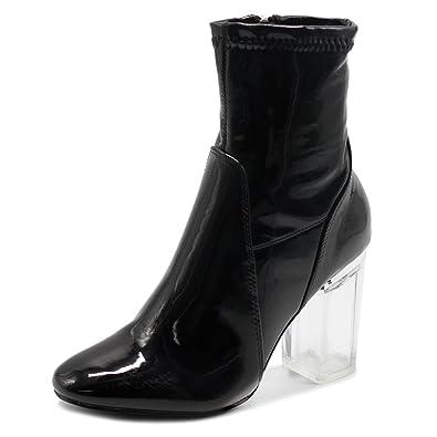 Women's Shoe Enamel Patent Side Zip Up Clear High Heel Ankle Boots