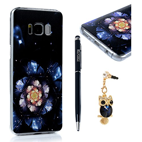 MOLLYCOOCLE Galaxy S8 Case,Cool Flower Pattern Clear Lightweight Transparent Hard Plastic Case Lightweight Slim Fit Full Body Protective Cover for Samsung Galaxy S8 - Luminous Flower (True Case Floral)