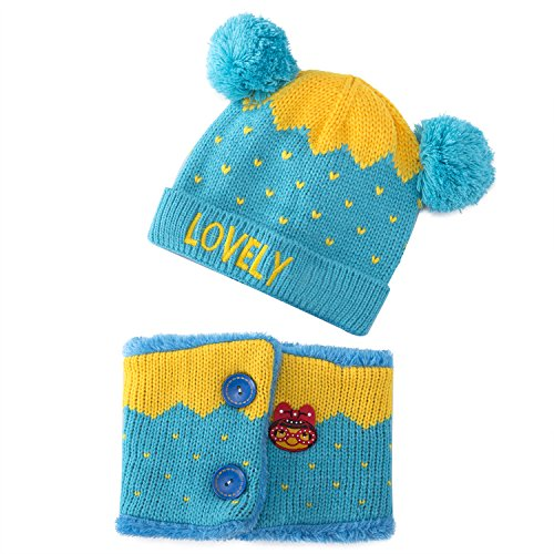 MAIMAI Children's Hat Autumn and Winter Models, Plus Velvet Thickening, Baby Knitted Hat, With Scarf Crown Cap (Sky Blue)