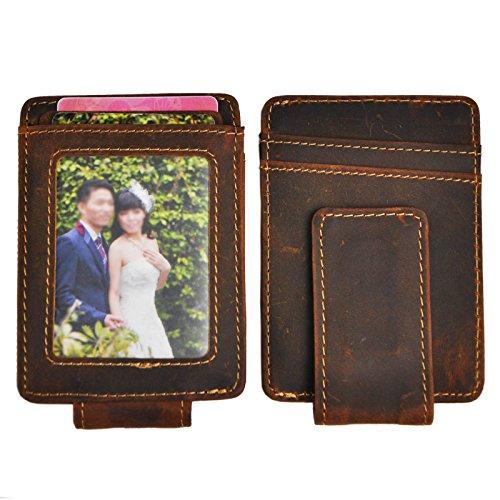 Leaokuu Genuine Leather Thin Card Case Holder Slim Handy Wallet Front Pocket