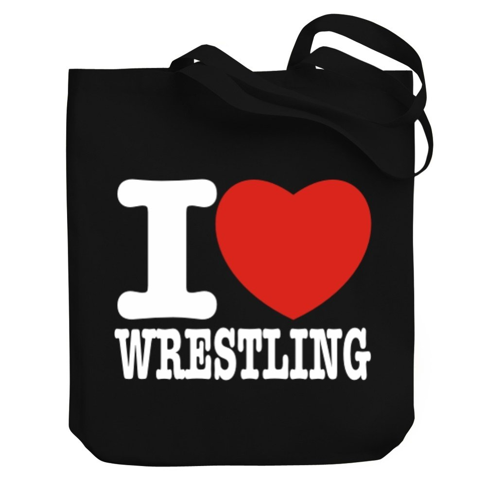 Teeburon I love Wrestling Canvas Tote Bag