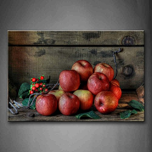 First Wall Art - Red Apple Crowd With Green Leaf Wall Art Painting Pictures Print On Canvas Food The Picture For Home Modern Decoration