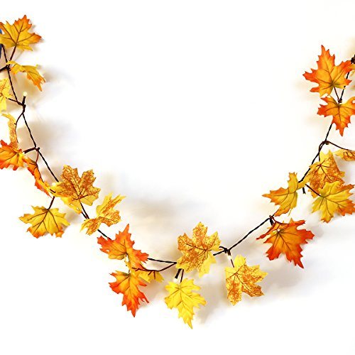YUNLIGHTS Thanksgiving Decorations Fall Lighted Garland, 14.7 Feet 40 LED Maple Leaf String Lights, Battery Powered, Warm White, Perfect Decoration for Autumn Halloween Christmas by YUNLIGHTS