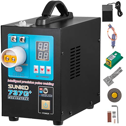 Mophorn 737G+ Pulse Spot Welder 0.35mm Battery Welding Machine 110V Battery Spot Welder and Soldering Station Portable Pulse Welding Machine for Battery Pack 18650 14500 Lithium Batteries