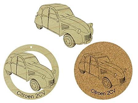 Citroen 2CV - Conjunto de adorno de madera/imán para nevera ...