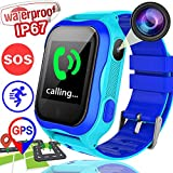 Kids Smart Watch GPS Tracker for 3-14 Girls Boys with IP67 Waterproof Voice Chat Camera SIM Calls Touchscreen Anti-lost SOS Flashlight Bracelet Game Watch for Summer Outdoor School Travel (blue)