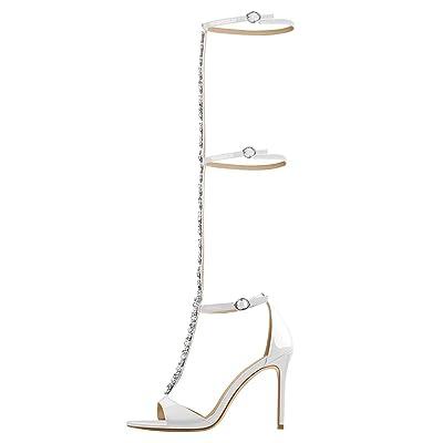 Onlymaker Women's Knee High Rhinestones Buckle Strap High Heel Gladiator Sandals | Sandals