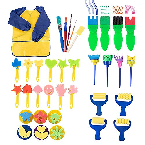 Kids Paint Set - 36-Piece Paint Sponge, Paint Brush, Foam Brayer and Artist Apron, for Kids Toddler Art Craft DIY Project, Learning Drawing Supplies, Painting Tools, , Assorted -