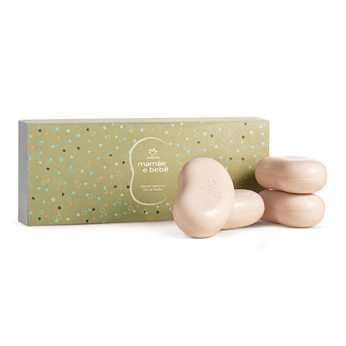Natura - Linha Mamae e Bebe - Caixa Presenteavel de Sabonetes em Barra Vegetal 4 X 100 Gr - (Natura - Mom and Baby Collection - Vegetable Bar Soap Gift Set (4 x Net 3.52 Oz) by Natura