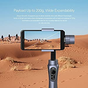 Zhiyun Smooth-Q 3-Axis Handheld Gimbal Stabilizer for Smartphone iPhone X/8/7/7Plus/6/6Plus Samsung Galaxy S8+/S8/S7/S6/S5 Gopro (3.5-6inch/75-200g) Wireless Control Vertical Shooting Panorama Mode