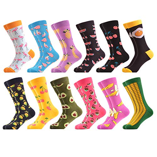 WeciBor Men's Funny Fancy Fruit Pattern Casual Combed Cotton Socks 12 Packs