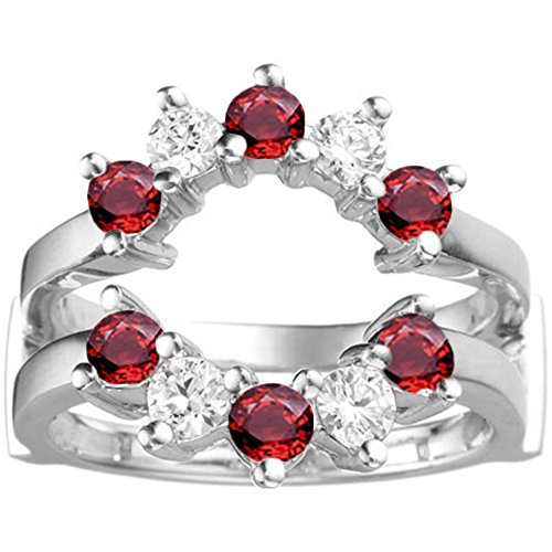 0.2 ct. Diamonds (G-H,I2-I3) and Ruby Genuine Ruby Sunburst Style Ring Guard with Gorgeous Round Stones in Sterling Silver (1/5 ct. twt.) - Ruby Bridal Ring Guard
