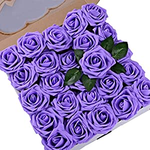 Umiss Wedding Bouquet 50pcs Artificial Flowers White Real Touch Artificial Roses for Bouquets Centerpieces Wedding Party Baby Shower DIY Decorations (Lavender) 111