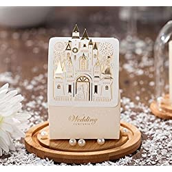Somnr® Romantic Castle Favors And Gifts Baby Shower Elegant White Luxury Decoration Laser Cut Party Wedding Paper Candy Box For Guest