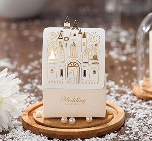 Somnr® Romantic Castle Favors And Gifts Baby Shower Elegant White Luxury Decoration Laser Cut Party Wedding Paper Candy Box For (Castle Favor Boxes)