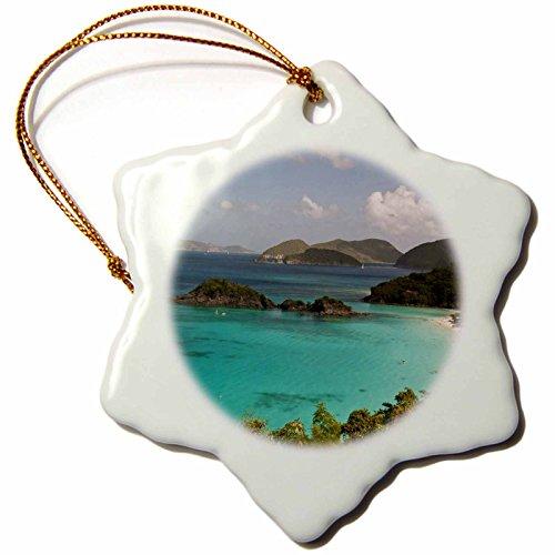 3dRose ORN_134957_1 USVI, St John, Popular Trunk Bay Ca37 Tdr0017 Trish Drury Snowflake Ornament, Porcelain, 3-Inch -