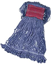 AmazonBasics Loop-End Synthetic Commercial String Mop Head, 5 Inch Headband, Large, Blue, 6-Pack