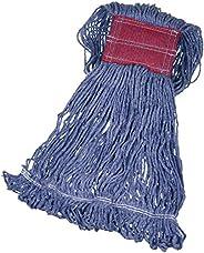 AmazonBasics, Cabeza de trapeador sintético, extremo de bucle, cinta de 12.7 cm, grande, Azul, paquete de 6