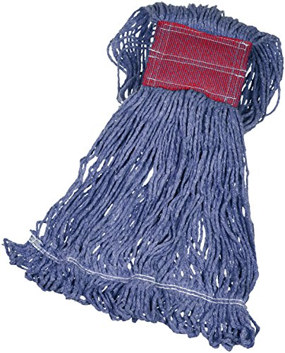 AmazonBasics Loop-End Synthetic Mop Head, 5-inch Headband, Large, Blue - 6-Pack - Looped End Dust Mop