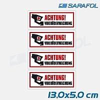 4x Aufkleber Videoüberwachung (Nr.122) TYP1 ACHTUNG! Videoüberwachung Hinweis Sticker Kamera Aufkleber 13,0x5,0 cm