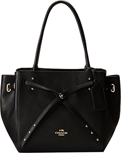 NEW AUTHENTIC COACH REFINED PEBBLE LEATHER TURNLOCK TIE TOTE SATCHEL BAG (Black) - Gathered Tote Bag