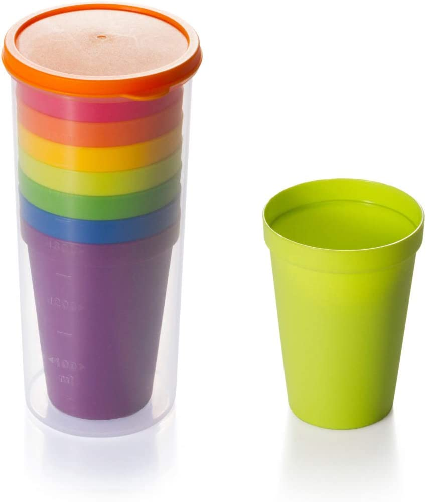 DUANYAN Creative Set of 7 Color Cups,for Home,Outdoor picnic, Office, Bars, Wedding, Birthday, Retirement, party Plastic Reusable Cups