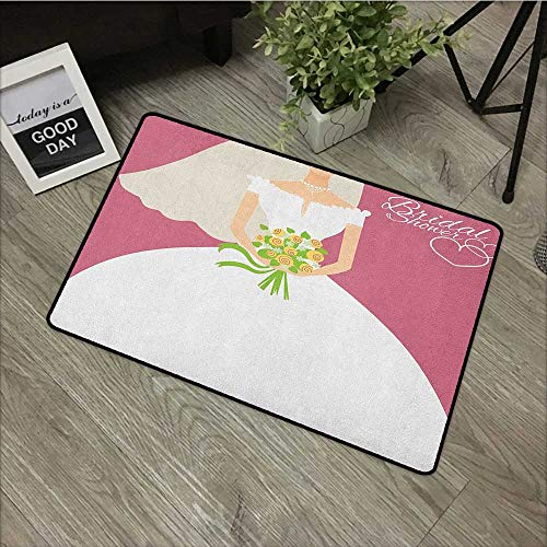 Bedroom Door mat W35 x L59 INCH Bridal Shower,Wedding Day Celebration Bride with White Dress and Flowers Image, Dark Coral and White Easy to Clean, Easy to fold,Non-Slip Door Mat Carpet