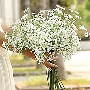 MARJON FlowersArtificial Flowers Gypsophila Baby's Breath Silk Flower Plant for Wedding Party Home Decoration DIY Artificial Grass (White) 106