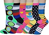 Sumona 6 Pairs Women Colorful Fancy Design Soft & Stretchy Novelty Crew Socks (6 Mixed Design-Randomly Choose)