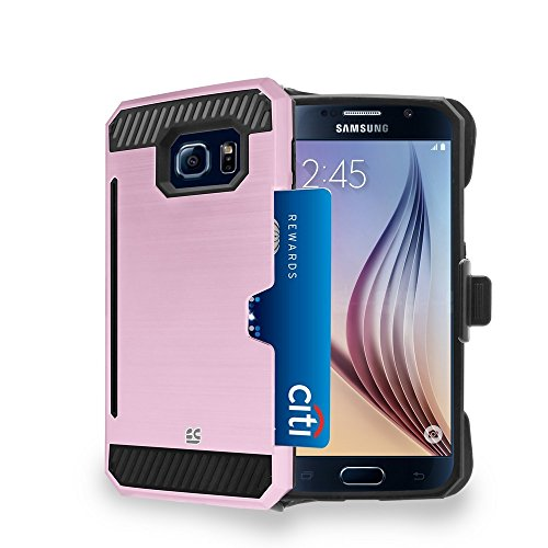 SCG Kombo Card Metallic Look for S6 Hybrid PC Silicone Build-in Foldable Kickstand Card Slot Shock Proof Slim Belt Clip Holster Rose Gold Black