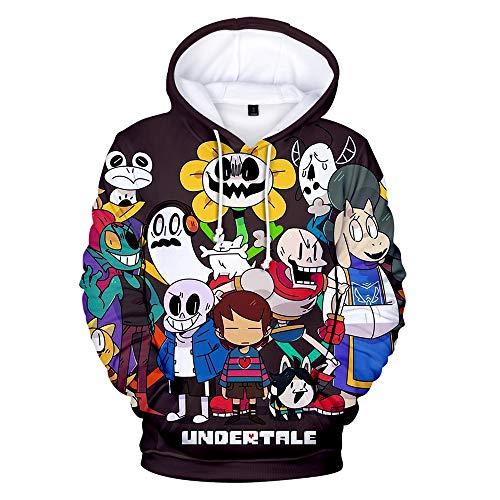 Undertale Sans Hoodie Fashion 3D Pullover Hoodie Sweatshirt (Black, M)