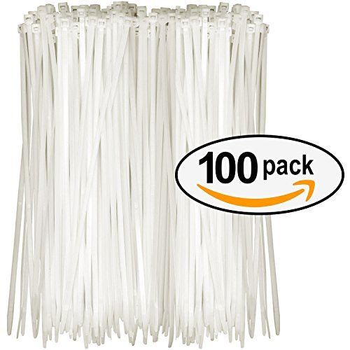 Tarvol Nylon Zip Ties (Pack of 100) 8 Inch with Self Locking Cable Ties (White) from Tarvol