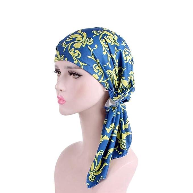 Huihong Turban Damas India Imprimir Elástico Turban Musulmán Cabeza Modernas Casual Bufanda Pérdida De Cabello Cáncer Chemo Hijab Sombrero De Cola Larga ...