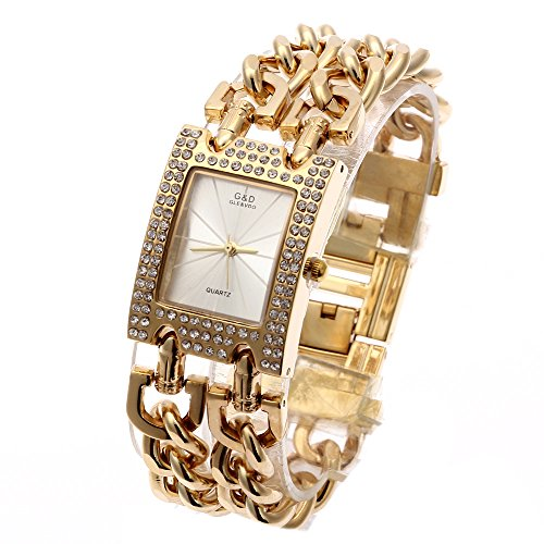 Chain Links Gold Tone Crystal Bezel Small Gold Bangle Watch for Woman Wedding (Date President White Gold Oyster)