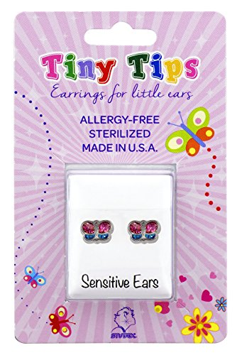 Tiny Tips Stud Earrings Tiffany Setting Hypoallergenic for Little Sensitive Ears (stainless glitter (Tiffany Butterfly Earrings)
