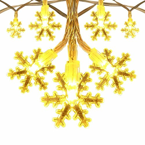 Snowflake Lights Battery Operated 40 LEDS Indoor string Lights for Christmas Tree, Bonsai, Backgrounds, Walkways, Mantels, Bedroom and More (Warm - Lights Christmas Blinking Background
