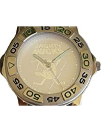 """Mighty Ducks"" Collectible Retro Theme Sport Watch with Silver Embossed Dial and Black Leather Strap"