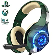 Gaming Headset for PS4 PC Xbox one, Beexcellent Stereo Sound Over Ear Headphones with Noise Reduction Microphone Volume Control and LED Light for Laptop Tablet Mac iPad (Camo)