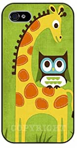 iPhone 5 / 5s Giraffe and owl - black plastic case / Animals and Nature, owl, owls