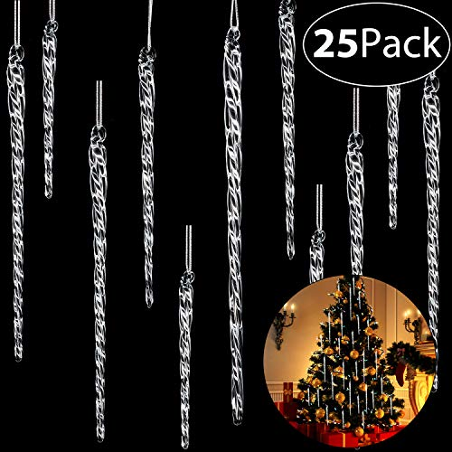 Boao 25 Pieces Clear Glass Icicle 3.5-7.8 Inch Twisted Clear Glass Icicle Christmas Ornaments Icicle Decorations Hanging